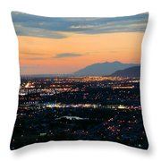 Salt Lake Nightscape Throw Pillow