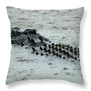 Salt Water Crocodile 3 Throw Pillow