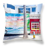 Salt Water Taffy Panorama Balboa California Throw Pillow