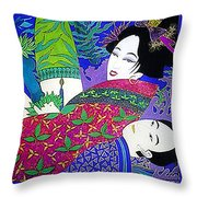 Samurai And Geisha Pillowing Throw Pillow