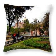San Blas Park In Cuenca Ecuador Throw Pillow