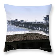 San Clemente Pier California Throw Pillow