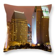 San Diego City At Night Throw Pillow