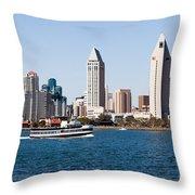 San Diego Skyline And Tour Boat Throw Pillow