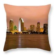 San Diego Skyline At Night Throw Pillow by Paul Velgos