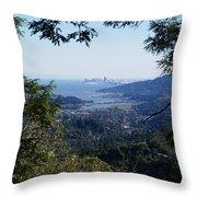 San Francisco As Seen Through The Redwoods On Mt Tamalpais Throw Pillow