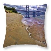 San Francisco Bay Bridge And Beach Throw Pillow