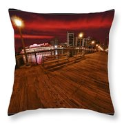 San Francisco Red Sky Pier Throw Pillow