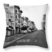 San Francisco Side Street-black And White Throw Pillow