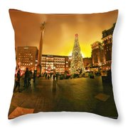 San Francisco Union Square Xmas Throw Pillow