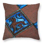 San Simeon Patio Tile Throw Pillow