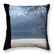 Sand Beach On An Alpine Lake Throw Pillow