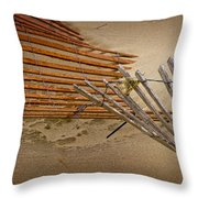 Sand Fence Falling Down On The Beach Throw Pillow