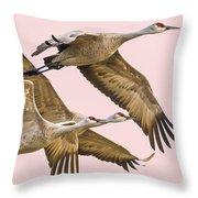 Sandhill Crane Family II Throw Pillow
