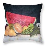 Sandia Con Frutas Throw Pillow