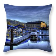 Sandpoint Marina And Power House Throw Pillow