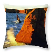 Sandstone Cliffs And Ocean Surf, La Throw Pillow