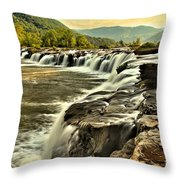 Sandstone Falls At Dusk Throw Pillow