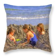 Sandy Fingers Sandy Toes Throw Pillow