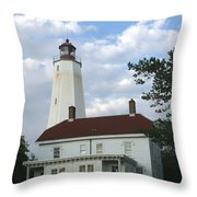 Sandy Hook Lighthouse And Building Throw Pillow