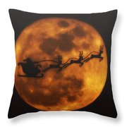 Santa Across The Sky Throw Pillow