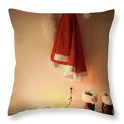 Santa Costume Hanging On Coat Hook With Christmas Lights Throw Pillow