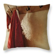 Santa Costume Hanging On Coat Rack Throw Pillow