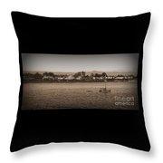 Santa Cruz Boardwalk Sepia Throw Pillow