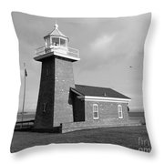 Santa Cruz Lighthouse - Black And White Throw Pillow