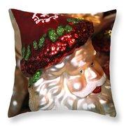 Santa Glass Ornament Throw Pillow