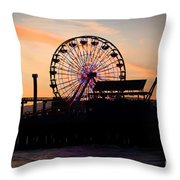 Santa Monica Pier Ferris Wheel Sunset Throw Pillow by Paul Velgos