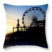 Santa Monica Pier Ferris Wheel Sunset Southern California Throw Pillow by Paul Velgos