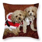 Santa Puppies Throw Pillow