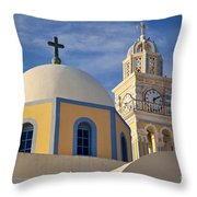 Santorini Church Throw Pillow