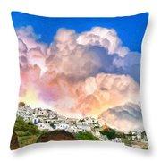 Santorini Sunrise Throw Pillow
