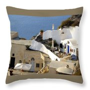 Santorini Terrace Throw Pillow