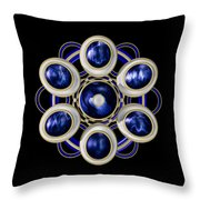 Sapphire And Gold Brooch Throw Pillow