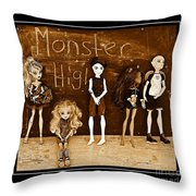 Sarah's Monster High Collection Sepia Throw Pillow