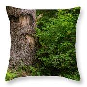 Sasquatch Rubbing Tree Throw Pillow