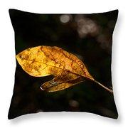 Sassafras Leaf Glowing Throw Pillow