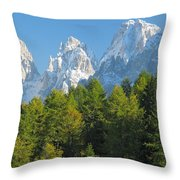 Sasso Lungo Group In The Dolomites Of Italy Throw Pillow