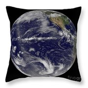 Satellite Image Of Earth Centered Throw Pillow by Stocktrek Images