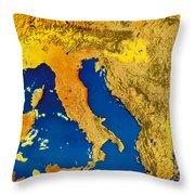 Satellite Image Of Italy Throw Pillow