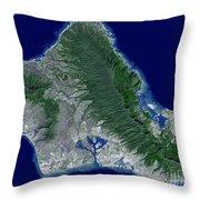 Satellite Image Of Oahu, Hawaii Throw Pillow