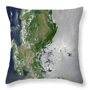 Satellite Image Of The Northern Throw Pillow