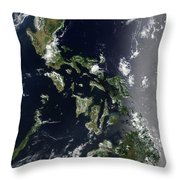 Satellite Image Of The Philippines Throw Pillow