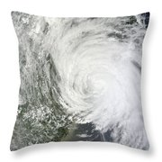 Satellite Image Of Tropical Storm Muifa Throw Pillow