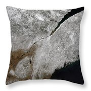 Satellite View Of A Frosty Landscape Throw Pillow by Stocktrek Images