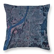 Satellite View Of Little Rock, Arkansas Throw Pillow