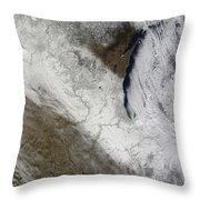 Satellite View Of Snow And Cold Throw Pillow
